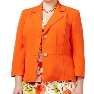 • Kasper • Bright Orange Plus Size Blazer Jacket